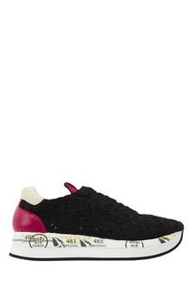 Черные кроссовки с аппликацией Premiata