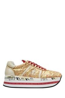 Золотистые кроссовки на платформе Premiata