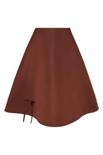 Коричневая юбка-солнце Prada