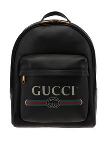 Черный рюкзак с винтажным логотипом Gucci