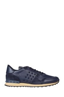 Синие комбинированные кроссовки с шипами Valentino