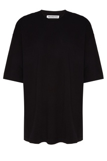 Однотонная черная футболка оверсайз Balenciaga