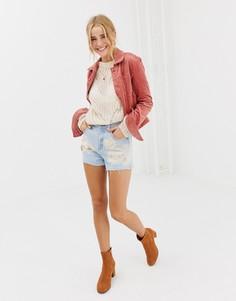 Джинсовые шорты с вышивкой Glamorous - Синий