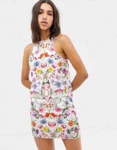 Платье мини с халтером и цветочным принтом Love - Мульти