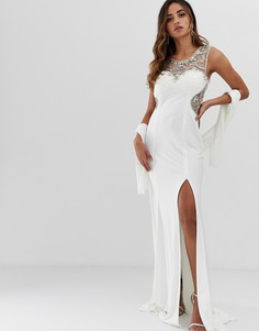 Платье макси с отделкой и разрезом до бедра Jovani - Белый