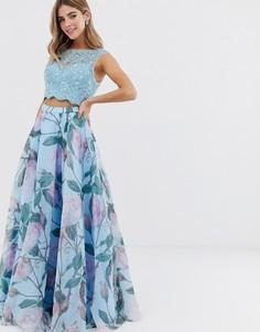 Комплект из топа и юбки макси с цветочным принтом Jovani - Синий