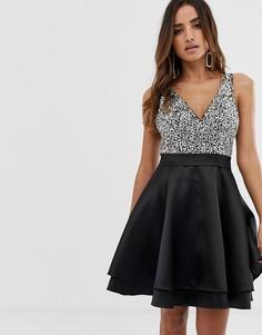 Короткое приталенное платье с отделкой на лифе Jovani - Черный