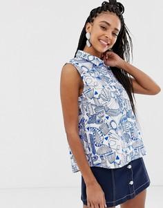 Рубашка без рукавов с принтом Monki - Мульти