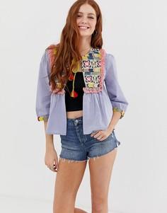 Куртка с вышивкой и кисточками Glamorous - Синий