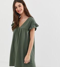 Меланжевое свободное платье мини ASOS DESIGN Tall - Зеленый