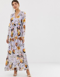 Платье макси с V-образным вырезом и цветочным принтом Y.A.S - Фиолетовый