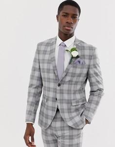 Серый облегающий пиджак премиум-класса в клетку Jack & Jones - Серый