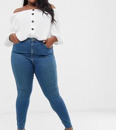 37068b64095 Синие выбеленные джинсы скинни с высокой талией и необработанным краем ASOS  DESIGN Curve Ridley - Синий