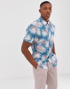 Синяя рубашка с принтом пальмовых листьев Ted Baker - Синий