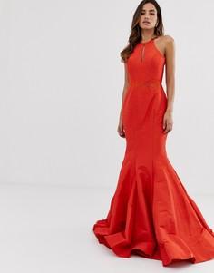 Платье макси с открытой спиной и годе Jovani - Оранжевый