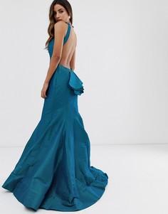Платье макси с открытой спиной и годе Jovani - Мульти