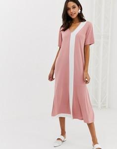 Платье-футболка макси с баской Native Youth - Розовый