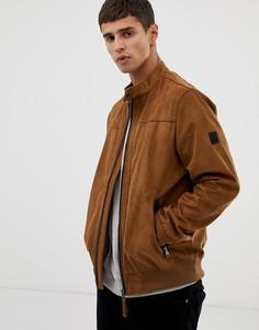 Светло-коричневая куртка из искусственной замши Tom Tailor - Рыжий