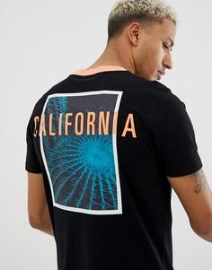 Черная футболка с принтом 2 на спине BOSS TPalm - Черный