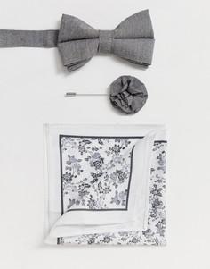 Свадебный комплект с серым галстуком-бабочкой, булавкой на лацкан пиджака и платком для нагрудного кармана ASOS DESIGN - Серый