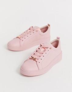 Розовые кожаные кроссовки Ted Baker - Розовый