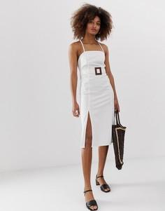 Джинсовое платье миди с завязкой на спине и поясом Neon Rose - Белый