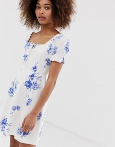 Чайное платье с цветочной вышивкой Neon Rose - Синий