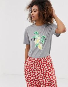Свободная футболка с принтом Neon Rose - Серый