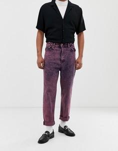 c84cc99a67a Розовые мраморные джинсы с завышенной талией ASOS DESIGN - Розовый с высокой  талией