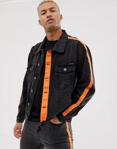 Черная джинсовая куртка с оранжевыми полосками Liquor N Poker - Черный