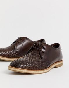 Темно-коричневые плетеные туфли на шнуровке Base London - Коричневый