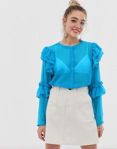 Блузка с оборками Monki - Черный