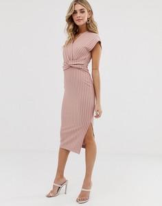 Розовое платье-футляр миди в полоску с перекрученной отделкой ASOS DESIGN - Мульти