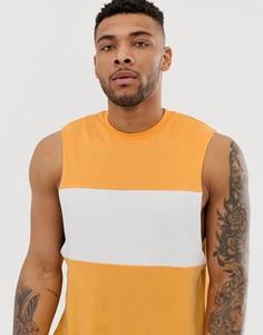 Желтая свободная футболка без рукавов с заниженными проймами и контрастной вставкой ASOS DESIGN - Желтый