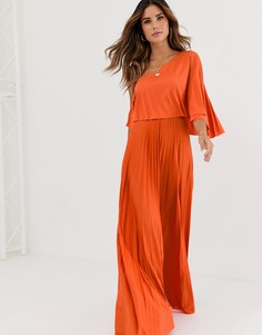 Платье макси на одно плечо с плиссировкой ASOS DESIGN - Оранжевый