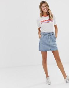 Джинсовая юбка с присборенной талией Hollister - Коричневый