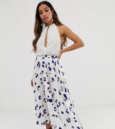 Атласная юбка миди с плиссировкой и пятнистым принтом ASOS DESIGN Petite - Мульти