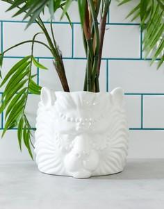 Белый цветочный горшок в виде головы льва River Island - Белый