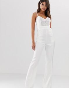 Комбинезон с широкими штанинами и кружевом Paper Dolls - Белый