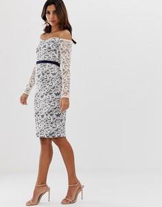 Платье-футляр миди из контрастного кружева с открытыми плечами Vesper - Розовый