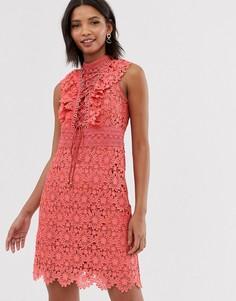 512f22c4a5133cc Коралловое кружевное платье-трапеция мини со шнуровкой Forever New -  Оранжевый
