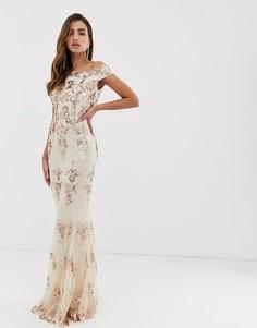 Платье-макси с открытыми плечами, кружевом и розово-золотистыми пайетками Goddiva - Мульти