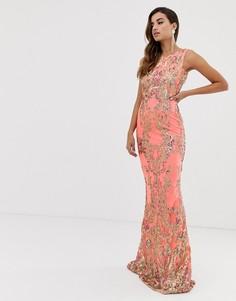 7bd9b6002b6ba16 Платье макси с высоким воротом и пайетками Goddiva - Розовый с глубоким  декольте