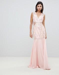 Декорированное платье макси с вырезами Forever Unique - Розовый