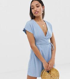 Голубое платье с запахом ASOS DESIGN Petite - Синий