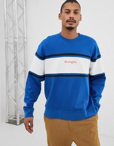 Сине-белый свитшот с круглым вырезом, полоской на груди и логотипом Wrangler - Синий