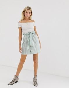 Мини-юбка с полоску с присборенной талией Glamorous - Зеленый