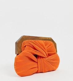 Оранжевый клатч с застежкой под дерево Accessorize - Оранжевый