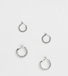 Набор из 2 пар серебристых серег-колец Reclaimed Vintage Inspired эксклюзивно на ASOS - Серебряный
