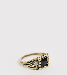 Кольцо на мизинец с гравировкой и камнем Reclaimed Vintage Inspired эксклюзивно для ASOS - Золотой